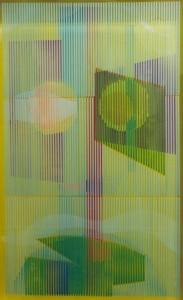 Doppia pittura su legno e trasparente montata dall'artista in cassetta  cm.99x60