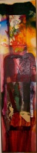 tecnica mista su tela, 216 x 51 cm, 1979